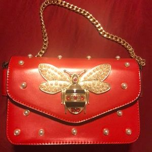 Gucci broadway red leather handbag